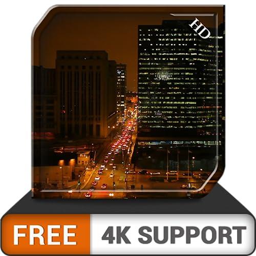 noite livre e movimentada - desfrute da vista favorável e educada da cidade em seus aparelhos de TV e fogo HDR 8k 4k como papel de parede e tema de mediação e paz