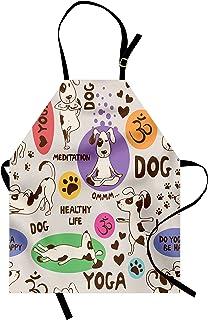 پیش بند عاشق سگ ماهر ، الگوی خنده دار با سگ کاریکاتور در حال انجام وضعیت یوگا خم شدن کشش مناسب ، بیب آشپزخانه یونیکس با گردن قابل تنظیم برای باغبانی پخت و پز ، اندازه بزرگسالان ، چند رنگ