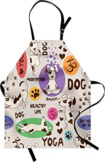 Lunarable Dog Lover Apron, Funny Pattern with Cartoon Dog Doing Yoga Position Bending Stretching Fit Healthy, Unisex Kitchen Bib with Adjustable Neck for Cooking Gardening, Adult Size, Multicolor