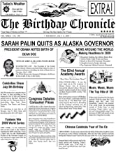 Customized Personal Birthday Newspaper Chronical Art Print for the Day You Were Born from 1900 to 2015