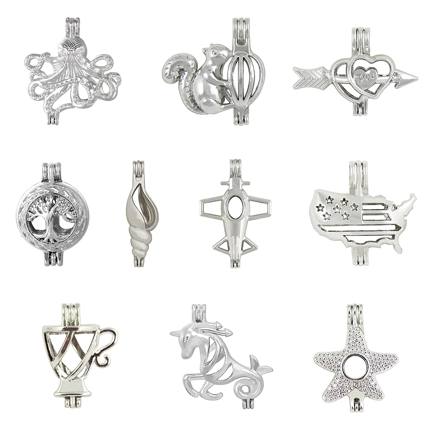 10Pcs Mix Jewelry Making Supplies Alloy Squirrel Life tree Starfish Unicorn Shark Bead Cage Pendant - Add Your Own Pearls Rock To Cage Perfume Essential Oils To Create A Scent Diffusing Pendant Charms