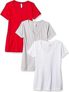 Clementine Apparel Womens 3-CLM1540 Ideal V-Neck T-Shirt (Pack of 3) Short Sleeve T-Shirt