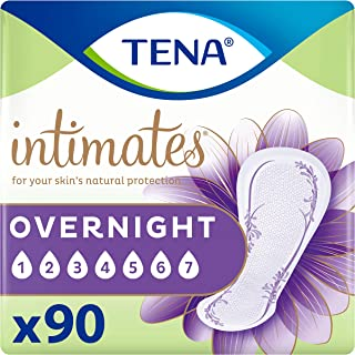 TENA Intimates Overnight Absorbency Incontinence/Bladder Control Pad with Lie Down Protection, 90 Count (Packaging May Vary)