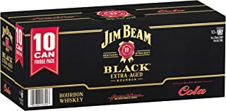 Jim Beam Black Label Bourbon & Cola Cans, 375ml (Pack Of 10)