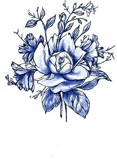 Blue Vintage Flower Temporary Tattoo - Realistic Body Art - Gift - Accessory - Wedding - Set of 2 Temporary Tattoos, 4
