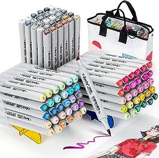 Arrtx OROS 90 Couleurs Feutre Alcool, double pointe pinceau et ciseau Marqueurs permanents d'art avec sac conçu, pour enfa...