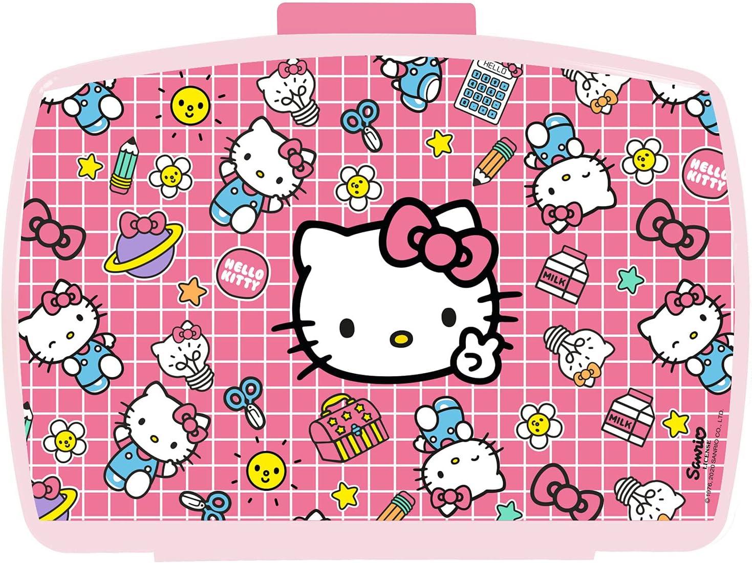 POS 33114 - Fiambrera con bandeja extraíble en diseño de Hello Kitty, 16 x 12 x 6,5 cm, plástico, sin BPA ni ftalatos, multicolor