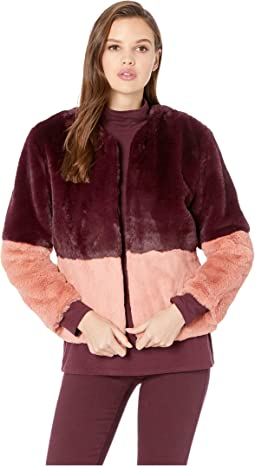 Faux Fur Color Block Jacket