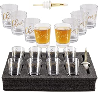 Bycnzb 2Ounce Heavy Base Shot Glass Set, Whiskey Shot Glass 8-Pack (cheers)
