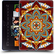 Head Case Designs Maroon Indian Monograms Soft Gel Case Compatible for Amazon Kindle Fire HDX 8.9