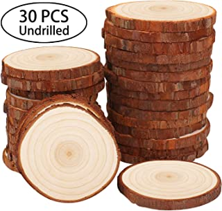 Fuyit Natural Wood Slices 30 Pcs 2.4-2.8 Inches Unfinished Wood Craft Kit Undrilled Wooden Circles Without Hole Tree Slice with Bark for Arts Painting Christmas Ornaments DIY Crafts