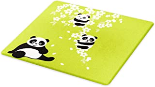Lunarable Panda Cutting Board, Baby Panda Bears in Cherry Bloom Tree Branches with Mom Under the Tree Cartoon, Decorative Tempered Glass Cutting and Serving Board, Large Size, Green Black