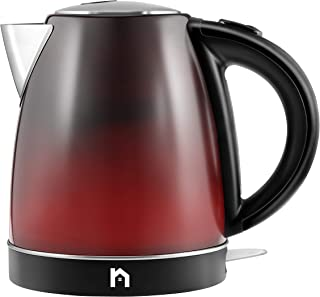 New House Kitchen Color Changing Electric Kettle with Rapid Boil Feature BPA Free Interior, Fast Heating Water Boiler, Auto-Shutoff, 1.7 Liter/1.8 Quart, Stainless Steel/Black/Red,