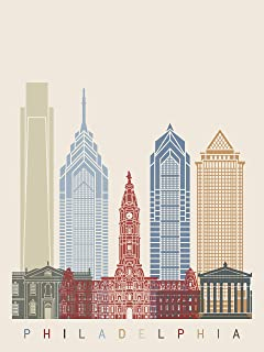 EzPosterPrints - World Famous City Skyline Posters - Travel Poster Printing - Wall Art Print for Home Office Decor - Philadelphia - 24X32 inches