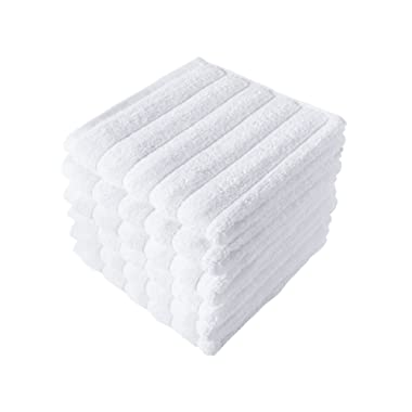 Classic Turkish Towels Luxury Ribbed Washcloths - Soft Thick Jacquard Woven 6 Piece Bath Set Made with 100% Turkish Cotton (White, 13x13 Washcloths)
