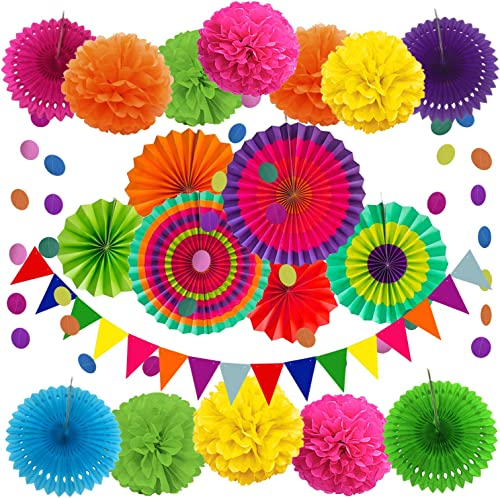 ZERODECO Party Decoration, 21 Pcs Multi-color Hanging Paper Fans, Pom Poms Flowers, Garlands String Polka Dot and Tri...