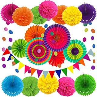 ZERODECO Party Decoration, 21 Pcs Multi-color Hanging Paper Fans, Pom Poms Flowers, Garlands String Polka Dot and Triangle...