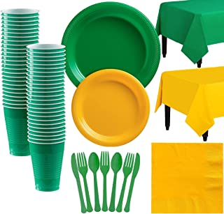 Party City Green and Sunshine Yellow Plastic Tableware Party Supplies for 50 Guests, 487 Pieces, Includes Plates and Table...