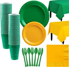 Party City Green and Sunshine Yellow Plastic Tableware Kit for 50 Guests, 487 Pieces, Includes Plates and Table Covers