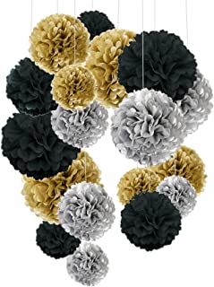 Tissue Paper Pom Poms, Cocodeko Paper Flower Ball for Birthday Party Wedding Baby Shower Bridal Shower Festival Decorations 18 Pcs - Black, Gold and Silver
