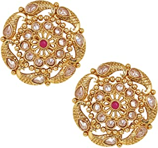 Shiining Jewel Gold Plated Pure Copper Kundan, LCT, Pearls and CZ studded Traditonal Ethnic Stud Eaarrings for Women (SJ_1...