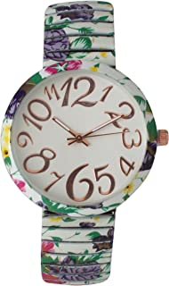 Floral Stretch Band Watch with Artist Numeral