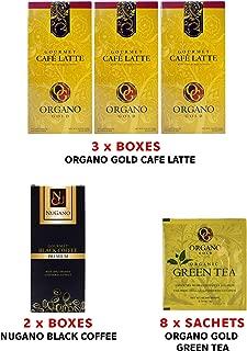 (3) Organo Gold Instant Café Latte Beverage + (2) Nugano Black Coffee With Dairy Free, lactose Free, No Sugar + (8) Organo Gold Green Tea Sample Sachet