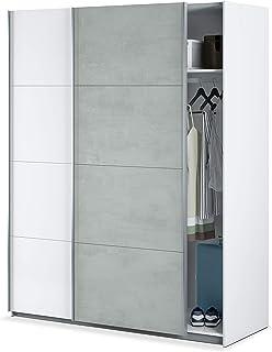 Habitdesign ARM154A - Armario Dormitorio ropero Armario 2 Puertas correderas Color Blanco Artik y Gris Cemento Medidas: ...