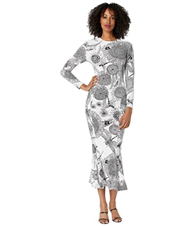 KAMALIKULTURE by Norma Kamali Long Sleeve Crew Fishtail Dress to Midcalf