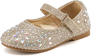 DREAM PAIRS Girl's Mary Jane Rhinestone Buckle Strap Ballerina Flat (Toddler/Little Girl)