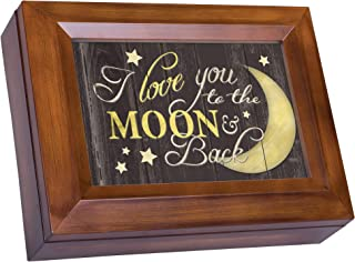 Cottage Garden Love You to The Moon and Back Woodgrain Digital Keepsake Music Box Plays Pachelbel's Canon D