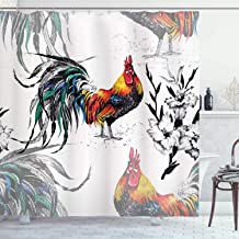Ambesonne Gallus Shower Curtain, Roosters Crowing Sound Silhouettes and Flowers Insect Butterfly Standing Plumage, Cloth Fabric Bathroom Decor Set with Hooks, 70 Long, White Black