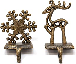 Gift Boutique Christmas Stocking Holder Set of 2 Metal Snowman and Santa Stockings Hanger Hook Mantle or Fireplace Decor V...