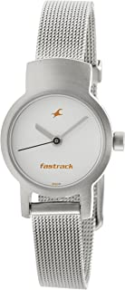 Fastrack Women's White Dial Mesh Stainless Steel Watch - NK2298SM02