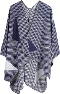 XueXian Women's Open Front Cape Plaid Checks Poncho Wrap Shawl Scarf