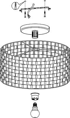 EGLO Luminaire plafonnier Marasales, lustre élégant en métal laiton et tissu noir, lampe de plafond pour salon et chambre à coucher
