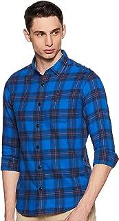 Mufti Men's Checkered Slim Fit Casual Shirt (MFS-9061-G-56-ORANGE_56-Orange_XXXL)