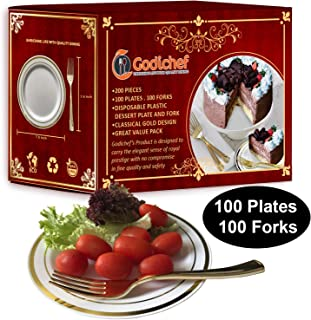 100 Disposable Plastic Dessert Plates with 100 Forks - Elegant White and Gold Rim Plastic Party Plates, Wedding Plates, Fancy Salad Plates, Thanksgiving Plates with Gold Plastic Forks Combo Bulk Set