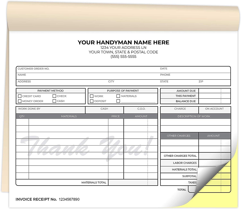 Custom Printed 数量限定アウトレット最安価格 8.5 x 7 Invoice Handyman Receip 在庫一掃 inches Carbonless