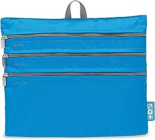 Flight 001 - Seat Pak Airplane Organization 3 Zipper Travel Bag, Blue