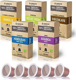 Gourmesso Eco Line Box 5 Sorten - 100% kompostierbare und nachhaltige Kaffeekapseln   ohne Alu und Plastik – 50 Nespresso kompatible Kaffeekapseln – Bio und Fairtrade