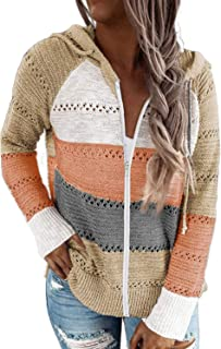 Aleumdr Women's Color Block Zip-up Long Sleeve Hoodies Lightweight Knit Sweatshirts Tops Multicolor Large Size