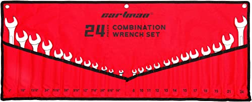 """new arrival Cartman 24-Piece 2021 All-Purpose Combination Wrench Set with Roll-up Storage Pouch, SAE 1/4"""" wholesale to 1"""", Metric 8mm to 24mm, Perfect for General Household, Garage sale"""