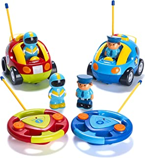 Prextex Pack of 2 Cartoon R/C Police Car and Race Car Radio Control Toys for Kids- Each..