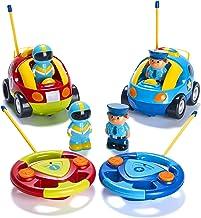 Prextex Pack of 2 Cartoon R/C Police Car and Race Car Radio Control Toys for Kids- Each..