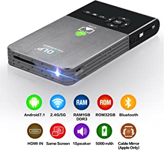CANGSIKI LED Portable Smart Mini Projector, Outdoor/Indoor Home Theater with Auto Keystone Correction, Bluetooth& WiFi Connectivity DLP Pocket Video Projector Support 1080P for Home Cinema C2(1g+32g)