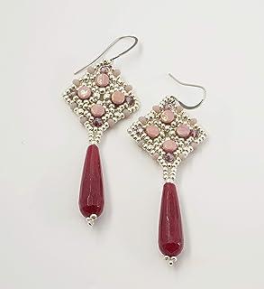 orecchini pendenti lunghi pietra dura goccia giada porpora e perline argento e rosa