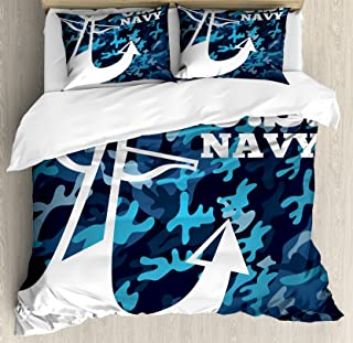 Lunarable US Navy Duvet Cover Set, Uniform Design with Camouflage Style Blue Toned Background and Anchor, Decorative 3 Piece Bedding Set with 2 Pillow Shams, Queen Size, Blue Camo
