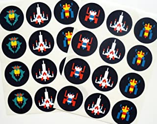 Retro Arcade Sticker, Galactic Fighter - 24 Pack