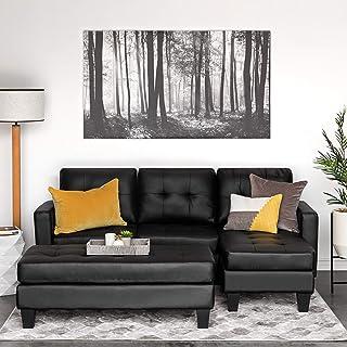 Amazon.com: Black - Sofas & Couches / Living Room Furniture ...